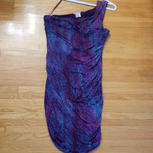 One shoulder purple pink and blue dress